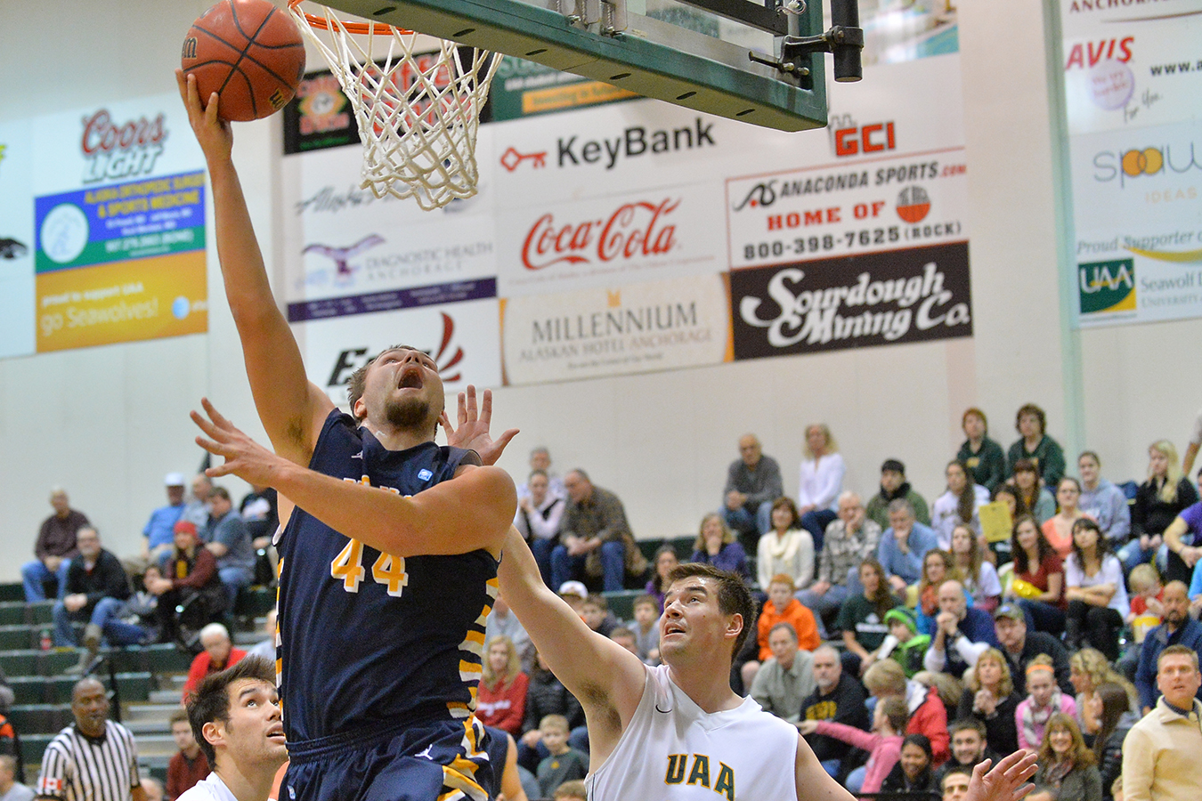 Austin Hudson (44) of Montana State Billings had a historic rebound performance last weekend (Photo by Sam Wassom)