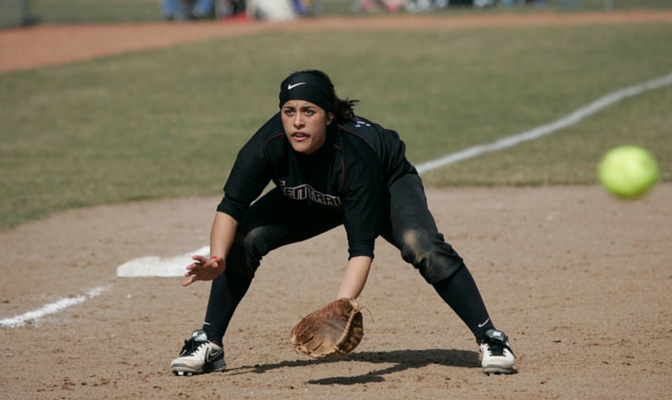 Central Washington's Alexa Olague fields her position for the Wildcats at the hot corner.