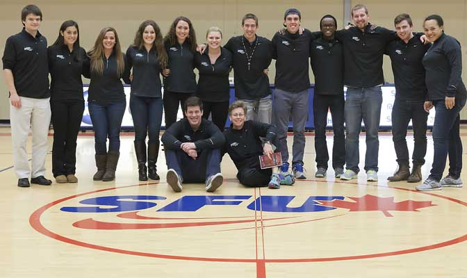 Members of the 2013-14 GNAC SAAC attended a women's basketball game at Simon Fraser University as part of their 2014 meeting last weekend.