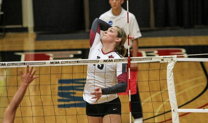 Kiah Jones was named All-GNAC Honorable Mention this season after finishing with 251 kills, 58 blocks and 104 digs.