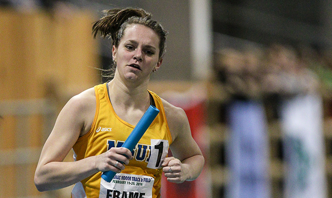 A distance specialist, Rio Frame is a member of Montana State Billings' school record distance medley relay team. Photo by Loren Orr.