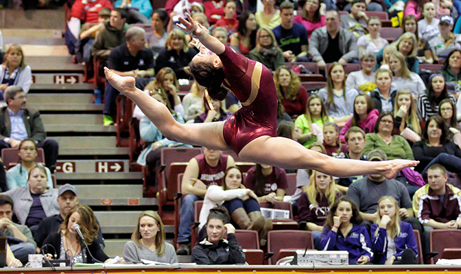 Lauren Glover competed in all 12 of Seattle Pacific's meets, specializing in the vault, beam and floor exercise.