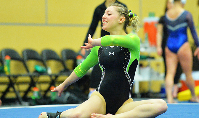 Morgan Ross scored a 9.7 in the floor exercise in the home-opening meet against BYU in which the Seawolves competed in front of a sold out Alaska Airlines Center.