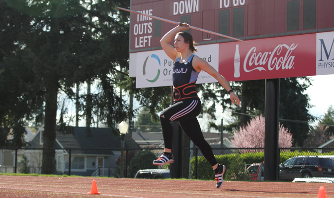 Western Washington's Bethany Drake placed second in the javelin at the competitive Bryan Clay Invitational.