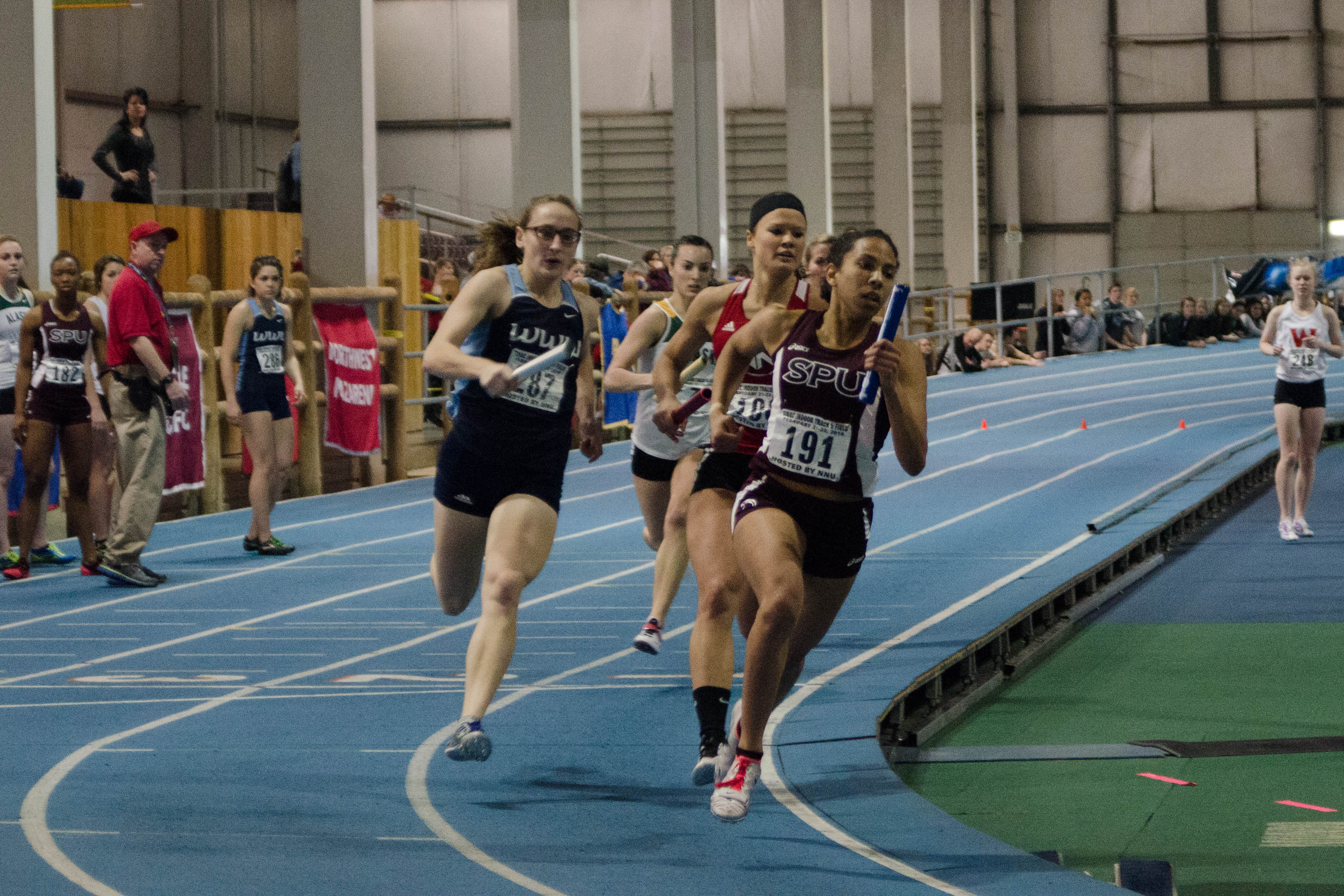 Kishia Mitchell (191) led Seattle Pacific to the third best 4x400 relay time in GNAC history Saturday at the SPU Last Chance (Photo by Ryan Alcantara).