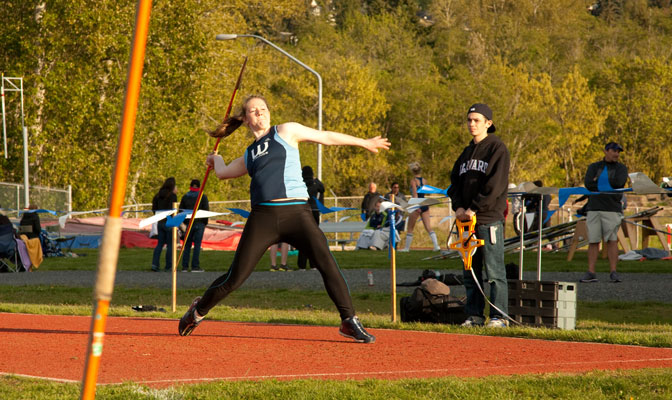 Katie Reichert won the javelin at the Oregon Preview meet with a Division II best of 162-1.