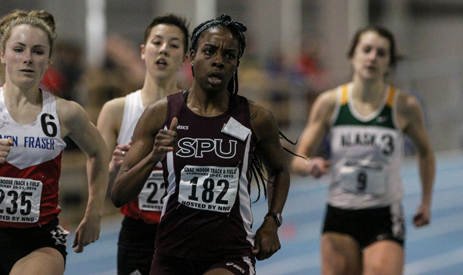 Seattle Pacific's Jahzelle Ambus (182) broke the school record in the 400 meters. (Photo by Loren Orr).