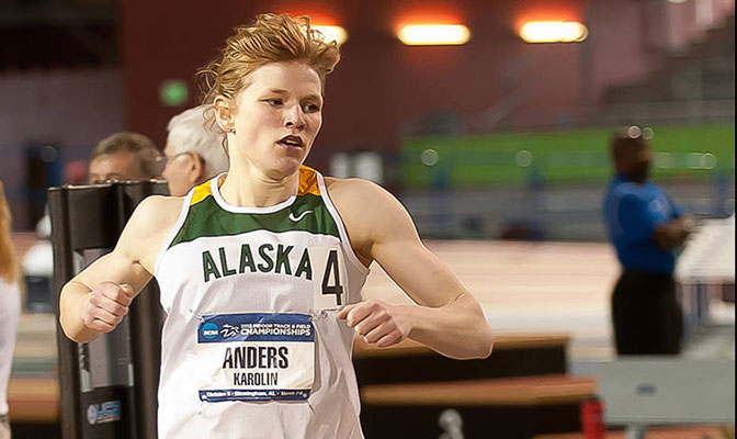 Alaska Anchroage's Karolin Anders placed second in the pentathlon at the Ed Jacoby Invite with an NCAA-leading score of 3,813 points. Her teammate, Cody Thomas, is No. 2 in the men's heptathlon.