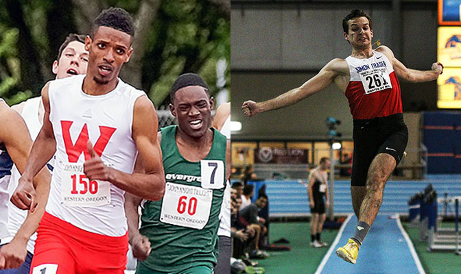 Western Oregon's Badane Sultessa (left) reset his GNAC record in the 800 meters while Simon Fraser's Vladislav Tsygankov set a conference record in the long jump.