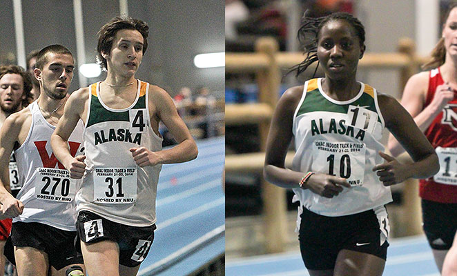 Alaska Anchorage's Dominik Notz (left) and Joyce Chelimo set conference reocrds in the 3,000 meters at last weekend's meets in Seattle, two of four set by GNAC athletes.