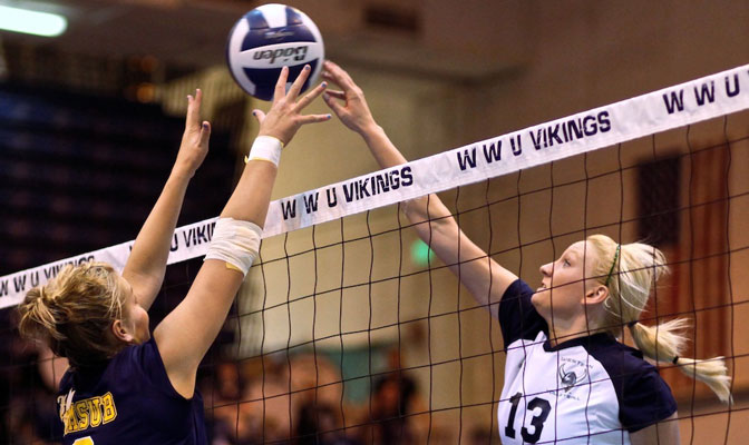 Western Washington's Marlayna Geary (right) was named the Most Valuable Player at the Sonoma State volleyball tournament.