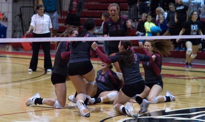 CWU celebrates after ending Western Washington's win streak at six (CWU Photo by Thomas vonAhlefeld)