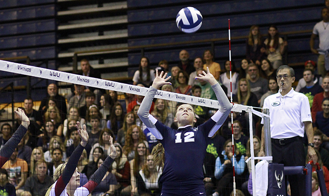 Western Washington's Taylor Dillard had 81 assists to lead the Vikings to a pair of victories (Photo by Nick Gonzales)