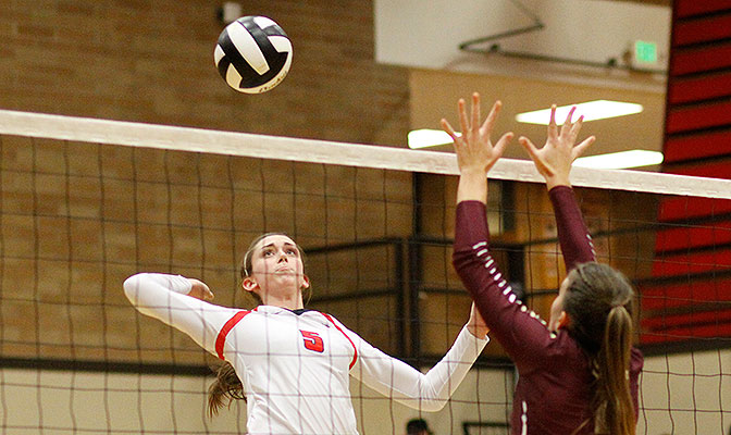 Northwest Nazarene's Jenna Caywood was named GNAC Volleyball Defensive Player of the Week after netting 15 blocks in two wins.