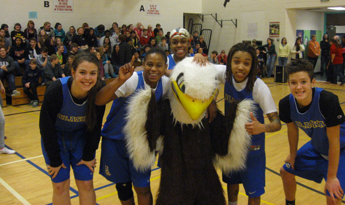 UAF women's basketball team participated in a pep rally at Tanana Middle School.