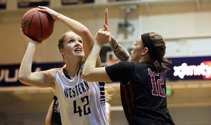 WWU junior forward Sydney Donaldson (left) earned her first Red Lion Player of the Week honor this season and was instrumental in each of the Vikings' two victories last weekend.