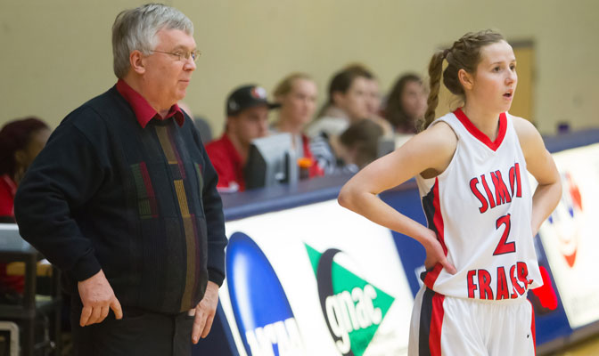 SFU head coach Bruce Langford, seen here with senior Kia Van Laare, made his first appearance as a live guest on the latest edition of GNAC Insider.