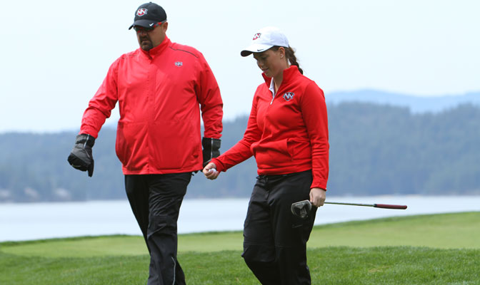 NNU golf head coach Craig Stensgaard, pictured here with freshman Samantha Miller, led the Crusader men to a GNAC title on Tuesday, and joined host Kevin Young on the latest episode of GNAC Insider.