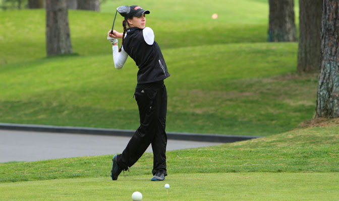 SMU's Mandy Wittmier is tied for the lead after Round 1 of the 2013-14 GNAC Women's Golf Championships, after shooting a 7-over par 78 at the Coeur d'Alene Resort Monday.