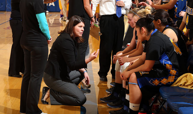 Alaska Fairbanks head coach Cody Bench (left) has turned the Nanooks into a GNAC tournament contender this season.