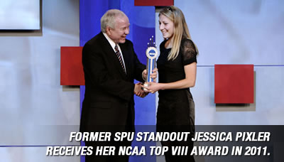 Former SPU standout Jessica Pixler receives her NCAA Top VIII Award in 2011