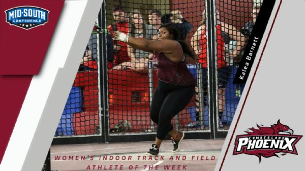 Kalea Barnett wins Women's Indoor Track and Field Athlete of the Week