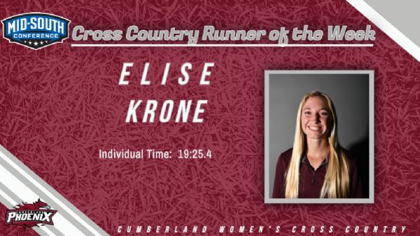 Krone named MSC Women's Cross Country Runner of the Week