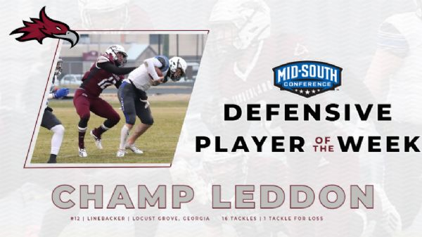 Leddon Earns Defensive Player of the Week Honors