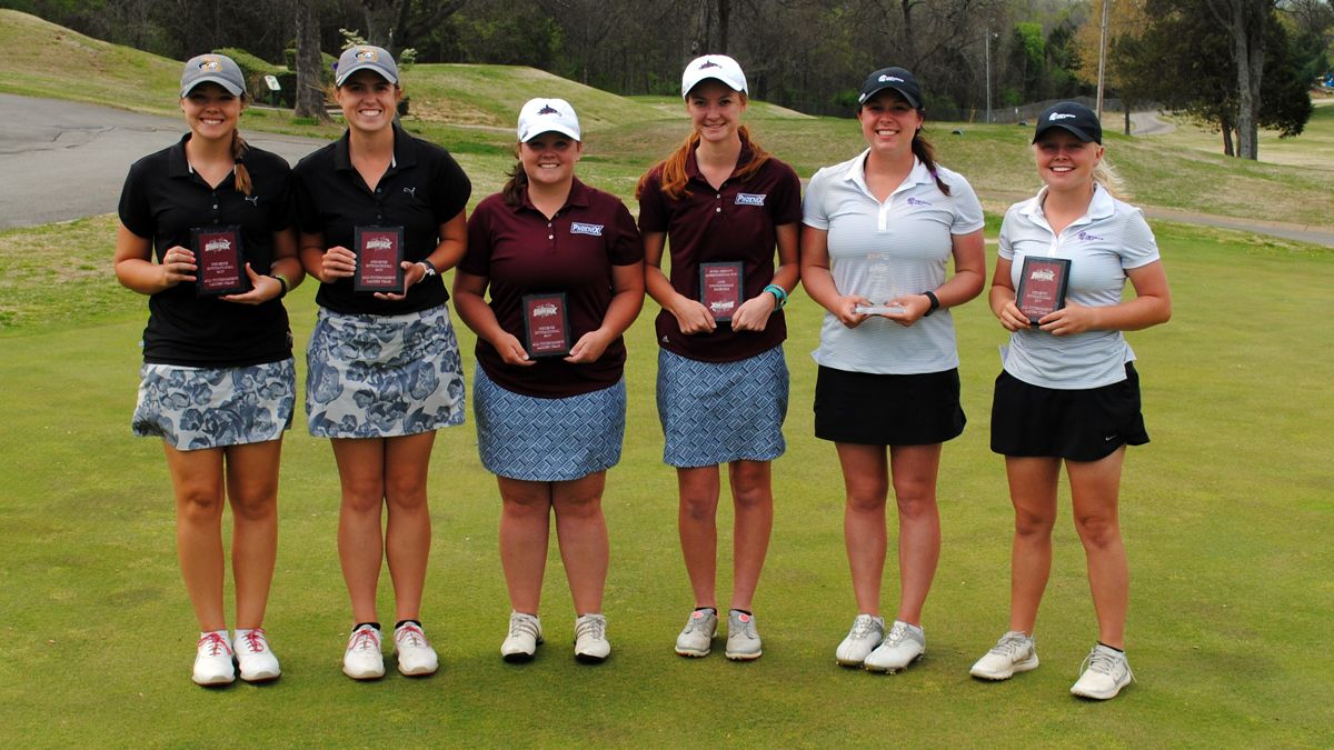 Morgan Stuckey (third from left) and Savanna Strode (third from right) earned All-Tournament Team accolades at the Phoenix Invitational.