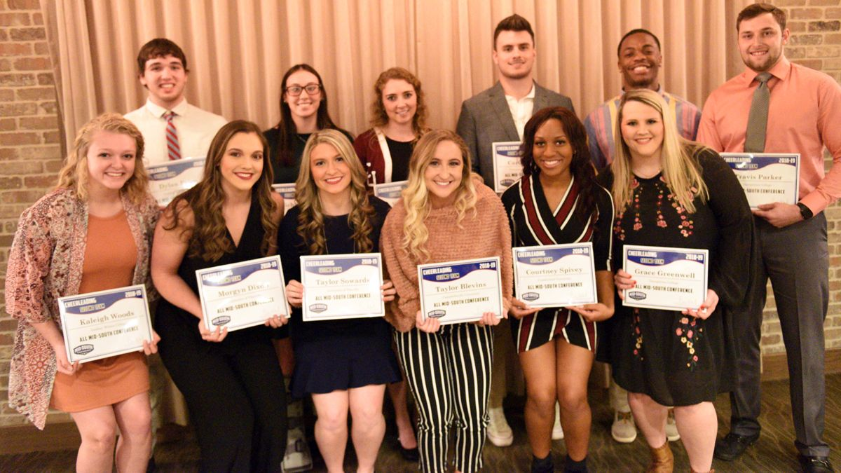 Virginia Lea (back row, third from left) and Courtney Spivey (front row, second from right) were named Second Team All-Mid-South Conference honors. (Credit Mid-South Conference)