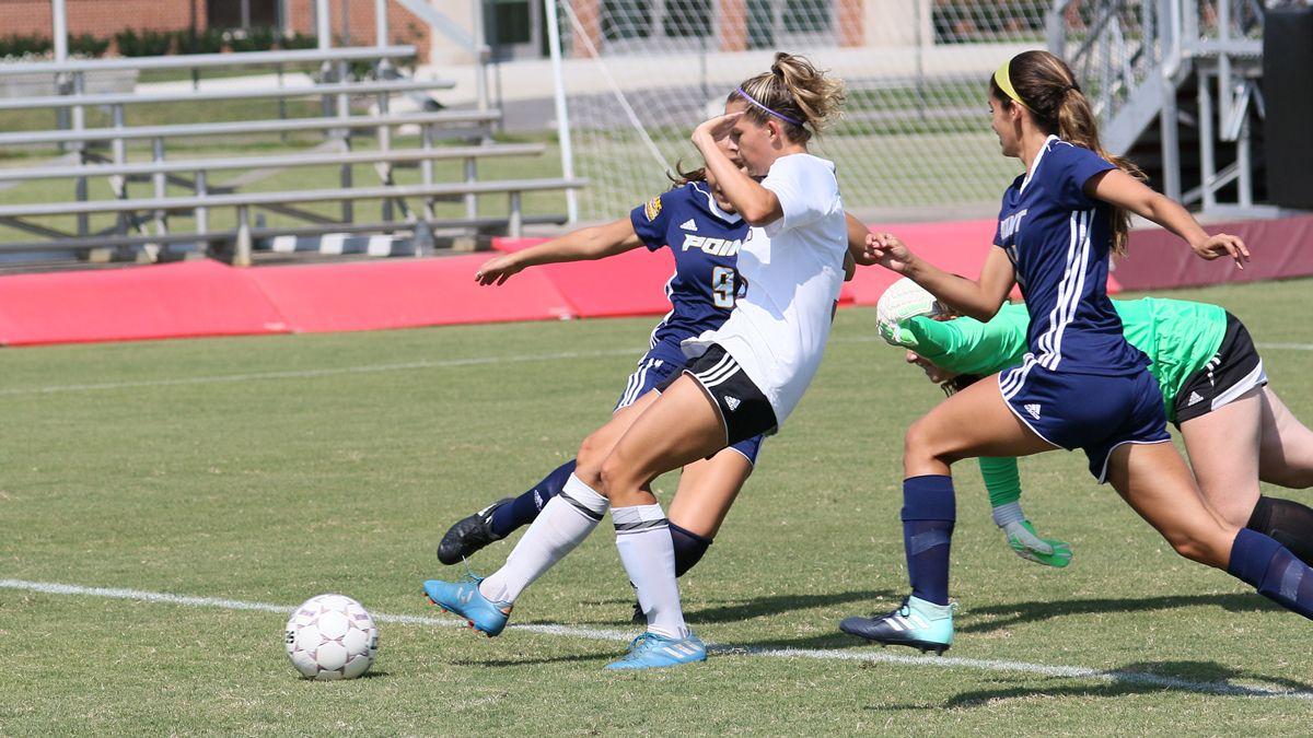 Five players score in women's soccer triumph