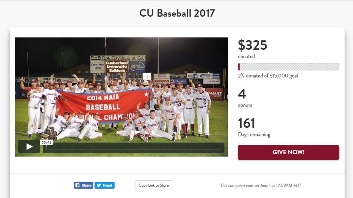 Cumberland baseball launches giving campaign