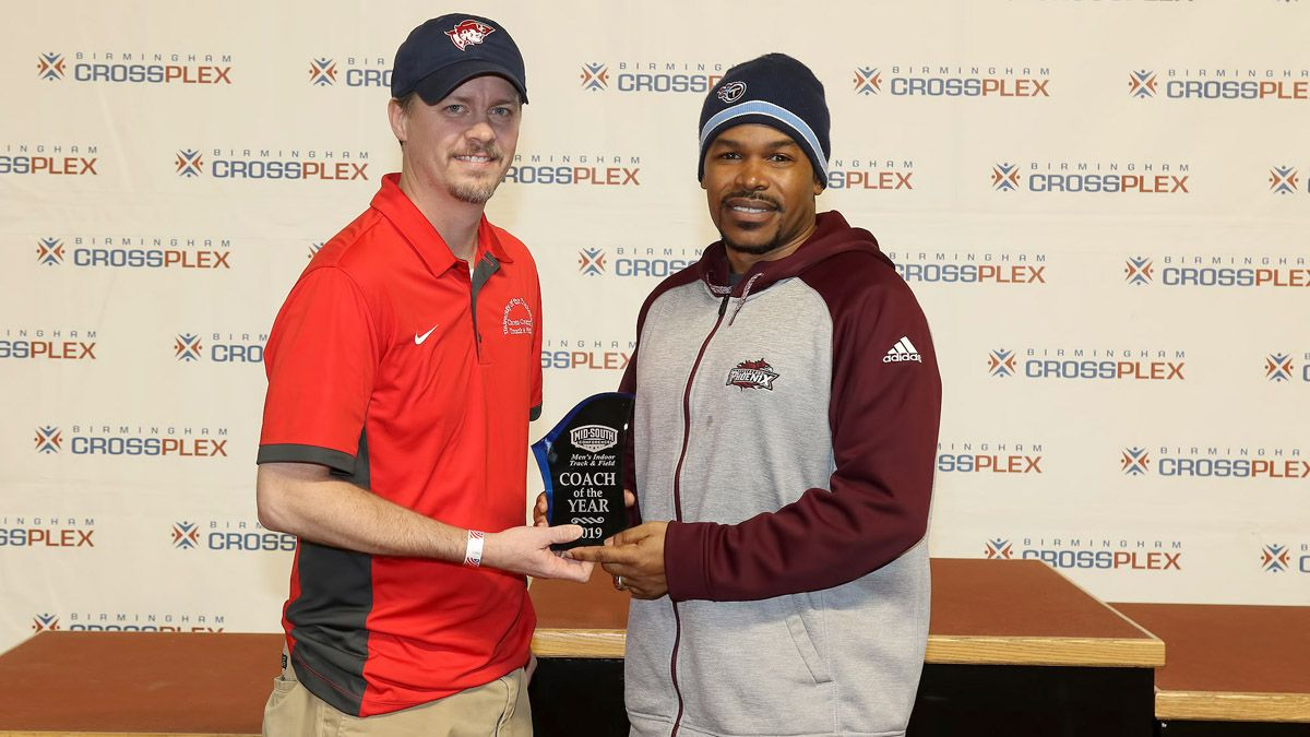 Mardy Scales was voted Co-Coach of the Year in helping the Phoenix men finished third at Monday Mid-South Conferernce Championships. (Credit Michael Wade)