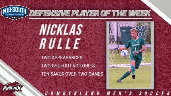 Nicklas Rulle wins MSC Defensive Player of the Week