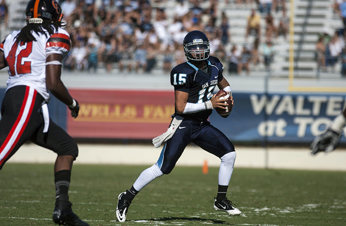 San Diego quarterback Mason Mills threw two touchdowns to lead San Diego past Marist for a share of the PFL title.
