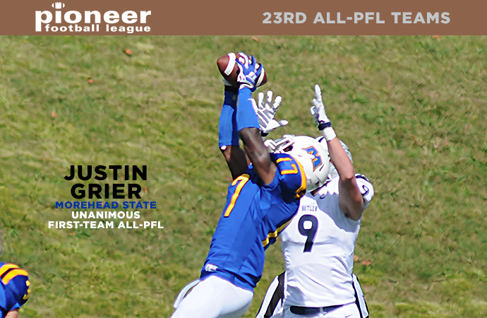 Morehead State defensive back Justin Grier was one of two unanimous selections to the 2015 All-PFL squads (Photo courtesy MSU Athletic Media Relations)