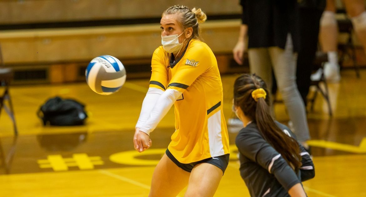 Volleyball Delivers Record-Setting Dig Total; Holds Off Four Match Points to Rally for Win at Drake