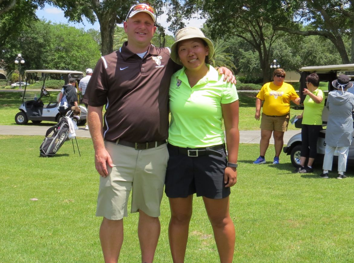 Coach Jon Haas led his team to the school record for season scoring average in his first year at the helm, while Angie Kim finished second in program history in career scoring average.