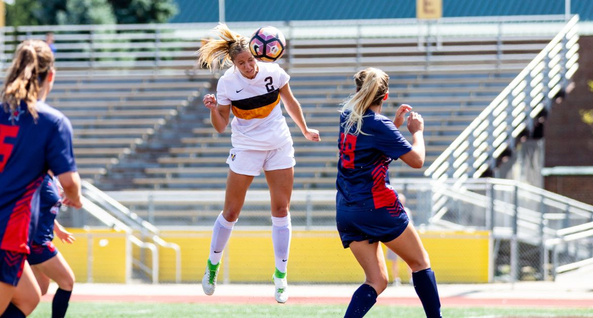 Cory Griffith nods home the second of her record-setting four goals Sunday. (Corey Lissy)