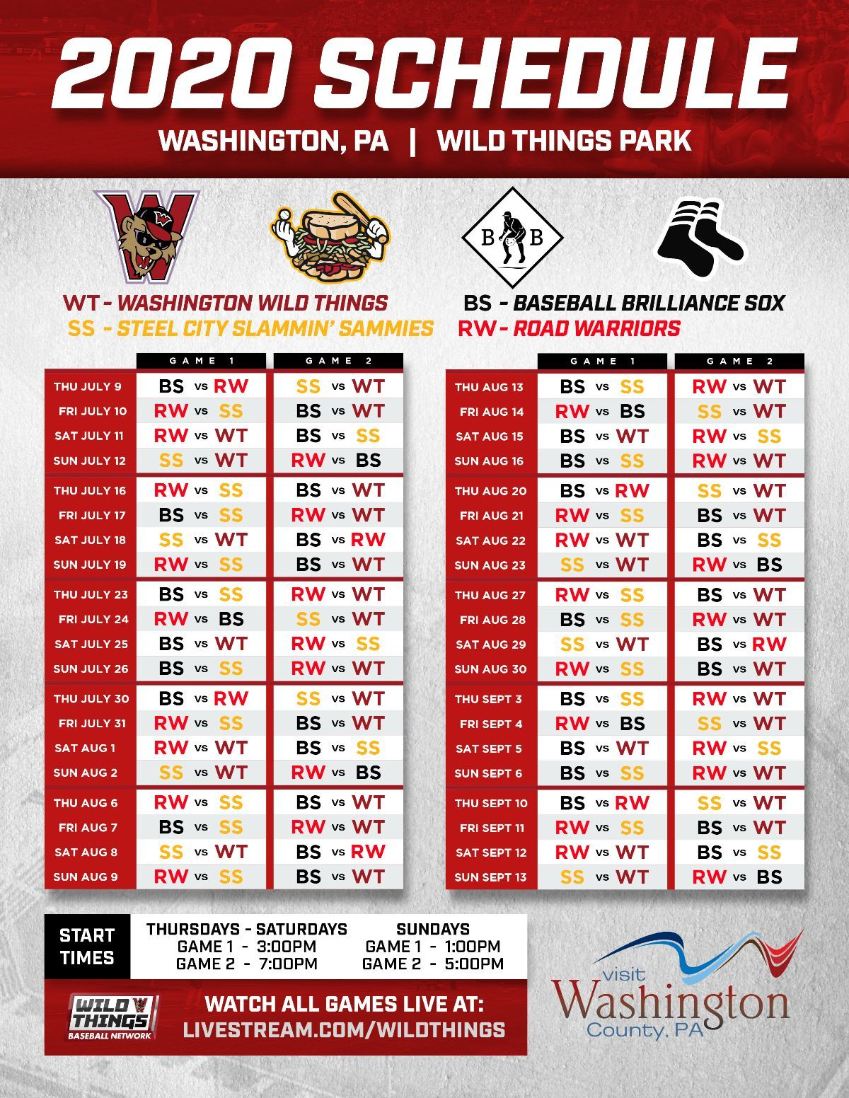 2020 Schedule Printable Official Website Of The Washington Wild Things