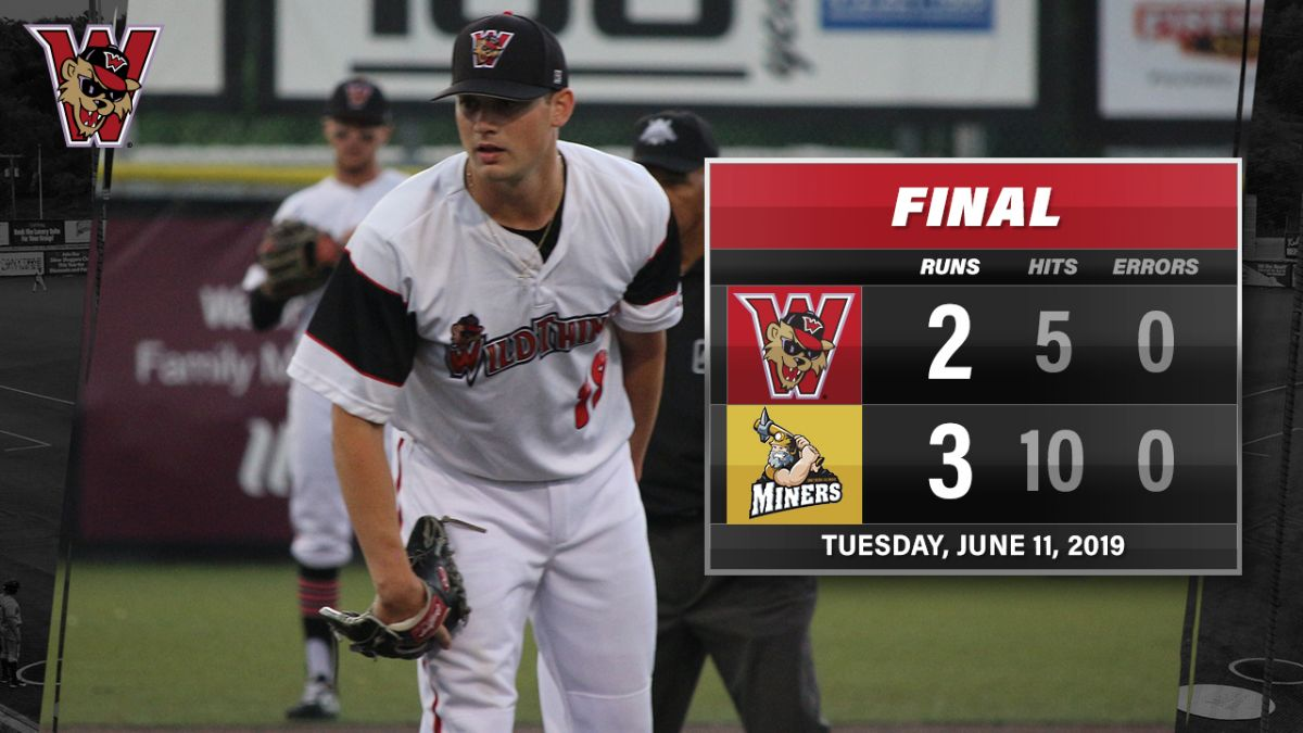 Baranek Drives in Both Wild Things Run in Loss to Miners